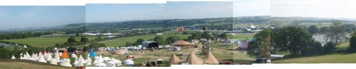 Glastonbury Festival panoramaic shot