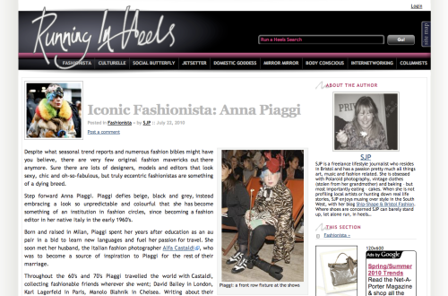 My profile of an Iconic Fashionista...