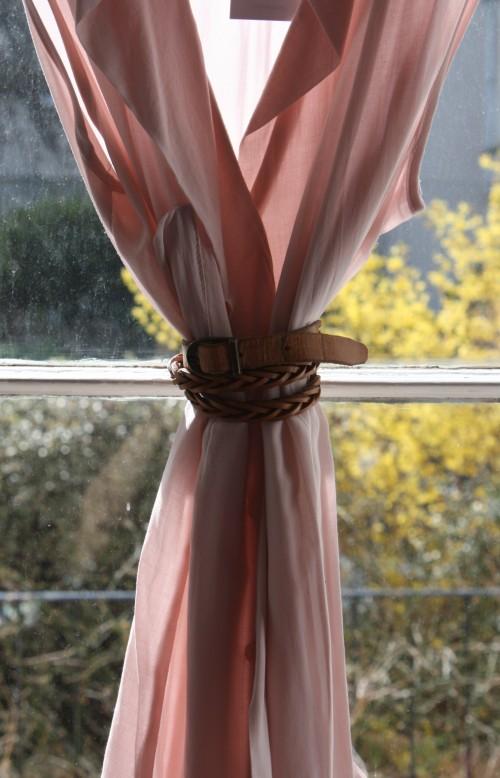 Pink blouse with vintage belt