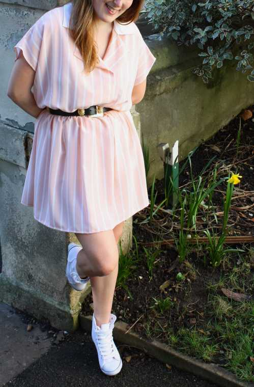 Peach and white M&S dress from Motel