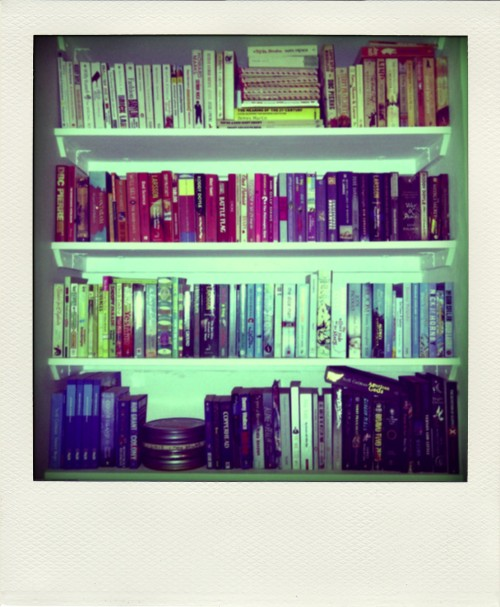 Homemade shelves, complete with colour-coordinated books