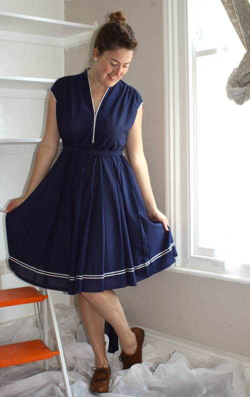 Navy vintage dress from www.refoundreloved.co.uk