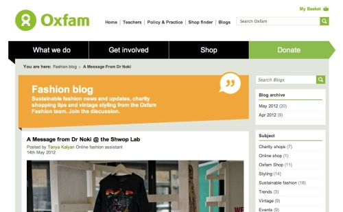 Oxfam Fashion blog