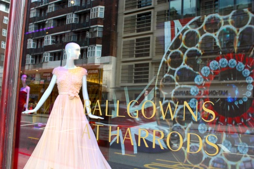 Ballgowns window display at Harrods