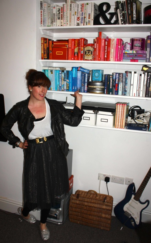 Zara skirt and colour coded books