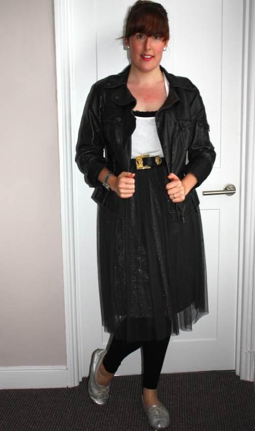 Zara skirt and leather jacket