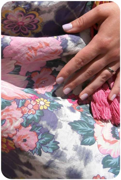 Floral print and lilac nails