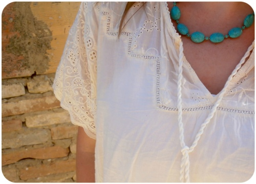 Monsoon top detail and turquoise necklace