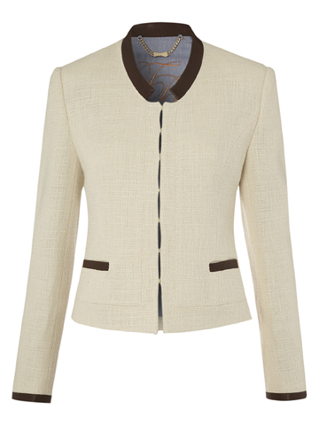 Ted Baker Cream Leather Trim Jacket