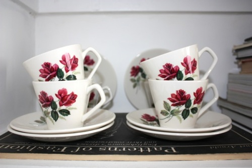 Lord Nelson rose teacups and saucers | Ship-Shape and Bristol Fashion