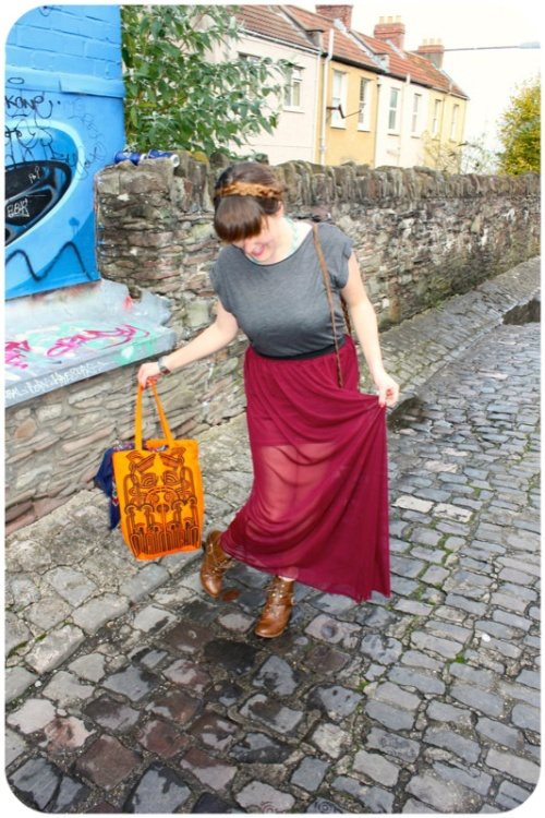 Primark maroon maxi skirt and Holly Fulton Designer Outlet Fashion Month bag