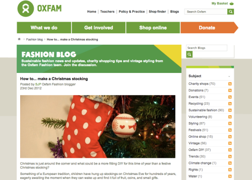 Oxfam DIY stocking | Ship-Shape and Bristol Fashion