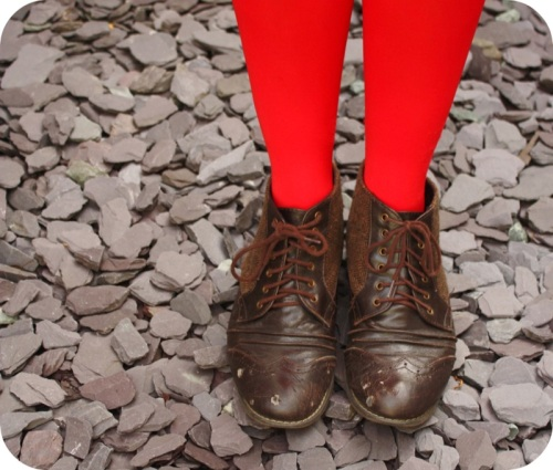 Red opaque tights and Primark ankle boots