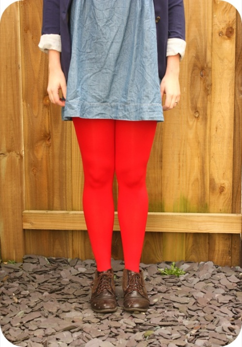 Red opaque Primark tights | Ship-Shape and Bristol Fashion