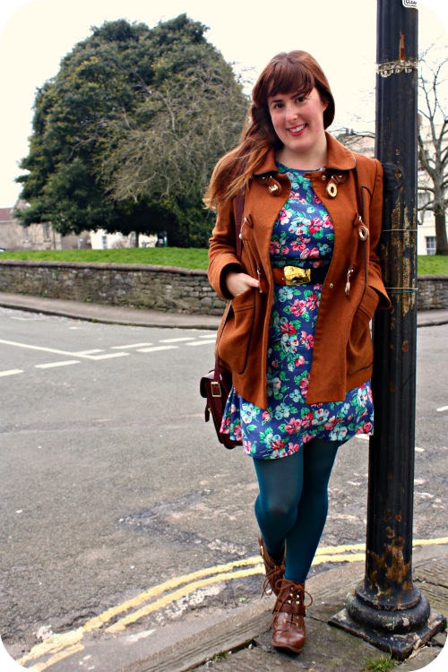 Floral dress and Topshop coat in Fremantle Square   Ship-Shape and Bristol Fashion