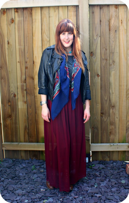 Maroon maxi skirt and leather jacket