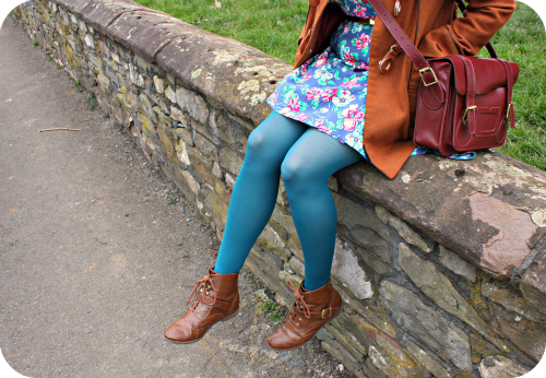 Teal tights and tan ankle boots | Ship-Shape and Bristol Fashion