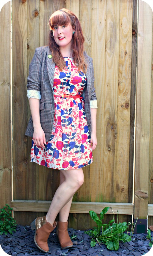 Oasis floral sundress and tweed blazer
