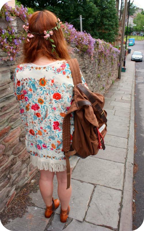 Zara fringed kimono and H&M backpack