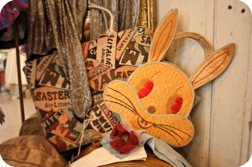 Vintage children's straw rabbit handbag