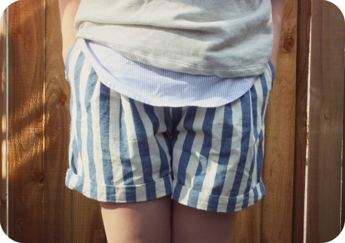 Zara striped linen shorts