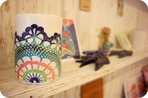 Ceramic mugs by Bee Hayes at The Little Shop on Stokes Croft