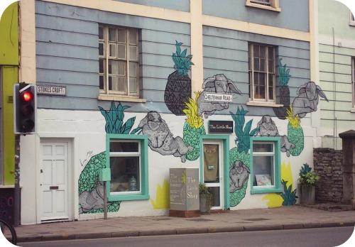 The Little Shop graffiti on Stokes Croft