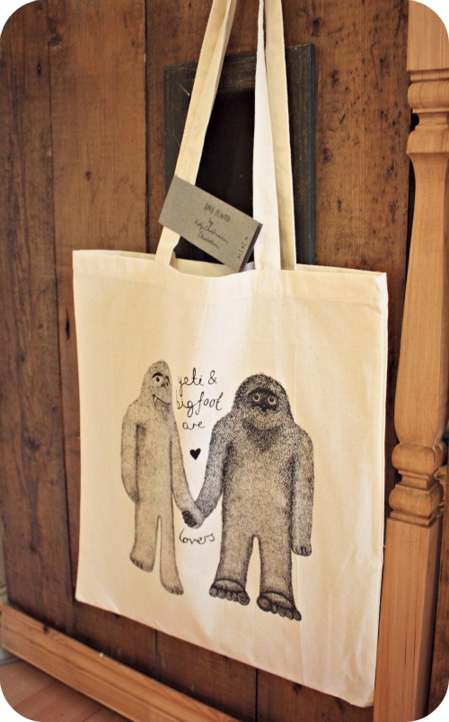 Yeti and bigfoot are lovers bag by Katy Christianson