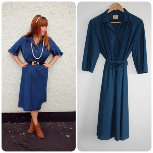Blue pleated St Bernard dress