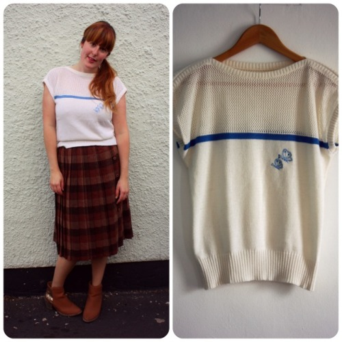 Cream butterfly top and tartan pleated skirt