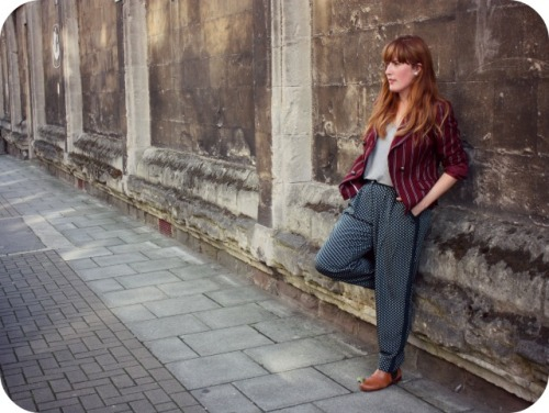 Whistles trousers and maroon blazer