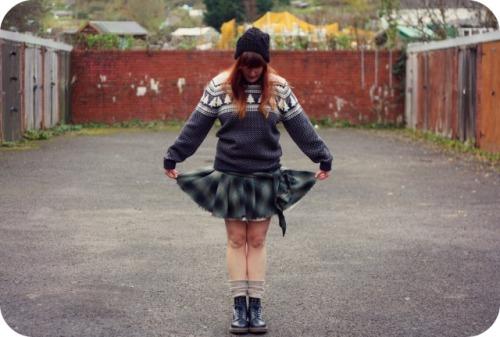 George Asda mens Christmas jumper and HM tartan skirt