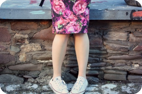 Topshop rose print pencil skirt and Converse trainers