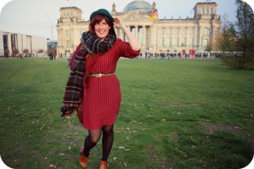 Zara tarten scarf and red vintage dress