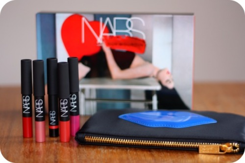 NARS lip pencils and make-up bag