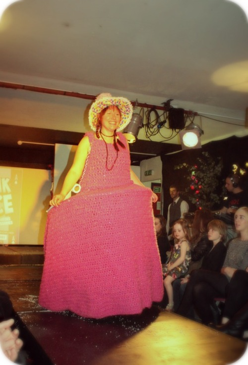 Pink Ace crochet toilet roll doll