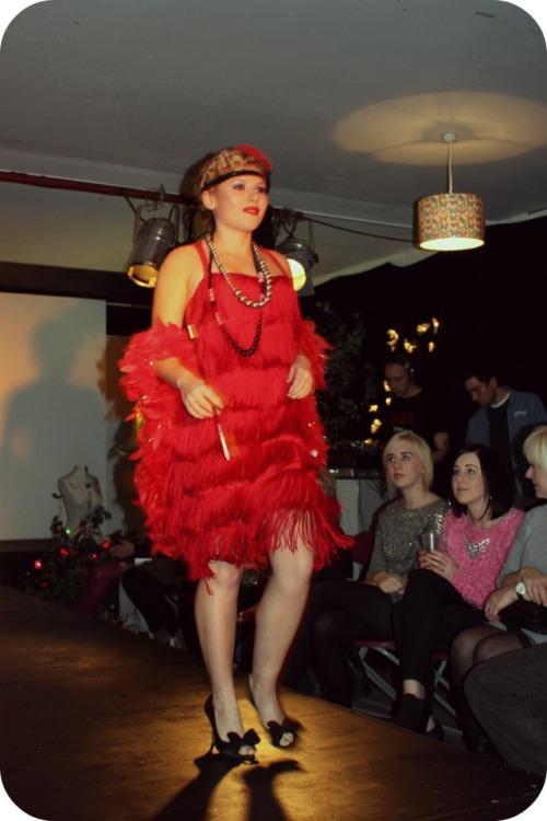 Red fringe flapper dress by Trina