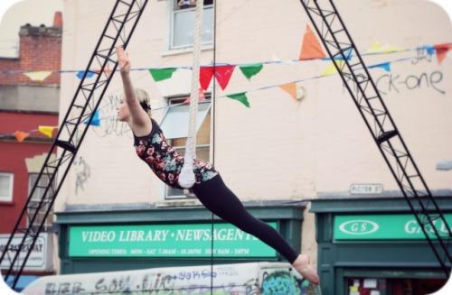Trapeze artist at Picton Street Christmas Market