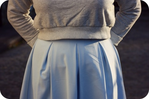 Zara cropped sweatshirt and Topshop skirt